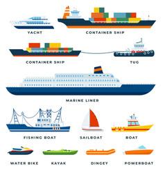 set boats ship yacht sail flat vector image