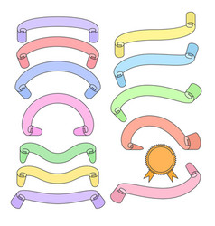 set of different ribbons pastel color tapes vector image
