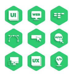 Set ui or ux design front end development vector