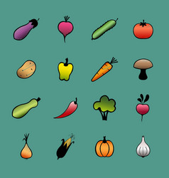 set vegetables hand drawn vegetable icons vector image