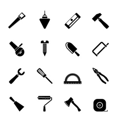 Silhouette Construction and Building Tools icons vector image