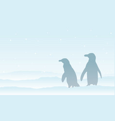 silhouette penguin on the snow scenery vector image