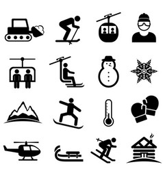 Ski winter sports and snow icons vector