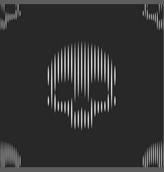 skulls seamless pattern thin lines black vector image