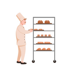 Smiling baker with bread flat vector