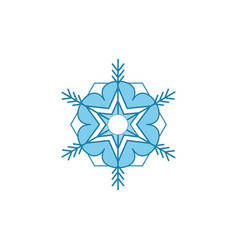 snowflake blue sign silhouette design snowflake vector image
