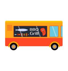 Street food festival bbq grill trailer vector