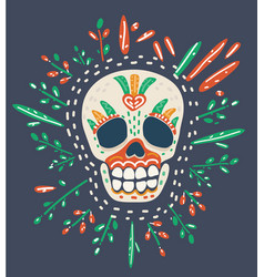 sugar skull on dark vector image