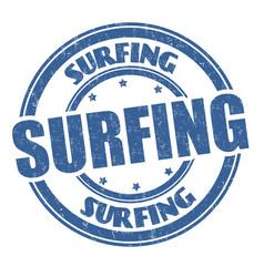 surfing grunge rubber stamp vector image