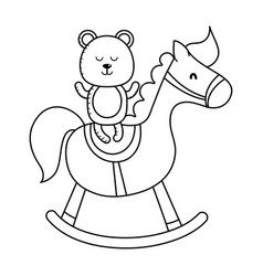 teddy and wooden horse in black and white vector image