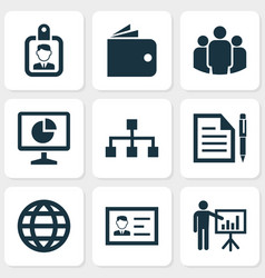 trade icons set with global wallet business vector image