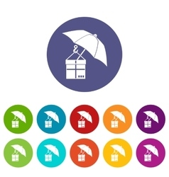 Umbrella and a cardboard box set icons vector image