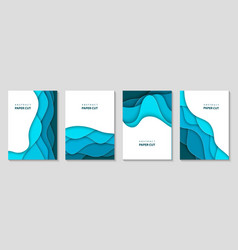 vertical flyers with blue paper cut waves shapes vector image