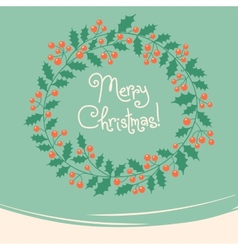 Vintage card with Christmas wreath vector image