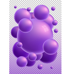 violet 3d glossy spheres with reflections vector image