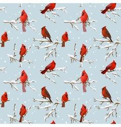 Winter Birds Retro Background - Seamless Pattern vector
