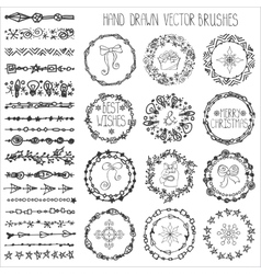 Winter doodle brushesChristmas decorBlack wreath vector