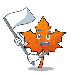 with flag red maple leaf mascot cartoon vector image