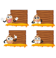 wooden boards with eggs vector image