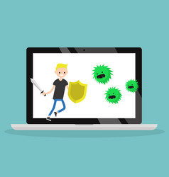 Young blond teen fighting against virus flat vector