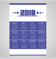 2018 simple business blue wall calendar with vector