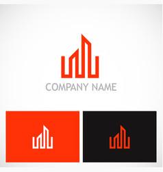 building business line logo vector image vector image