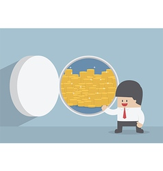 Businessman and opened vault door with gold coins vector image vector image