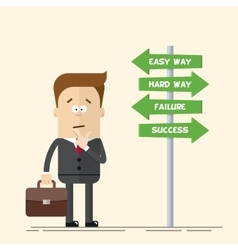 Businessman or manager has to choose the direction vector image vector image