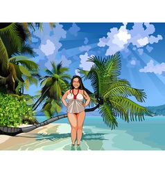 cartoon fat girl on a beautiful tropical shore vector image vector image