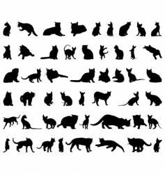 cat silhouettes set vector image