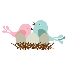 colorful silhouette of bird in nest with eggs and vector image