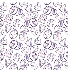 Cute seamless pattern with cartoon cheese milk vector image vector image