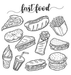 fast or unhealthy junk food sketches of hot dog vector image vector image