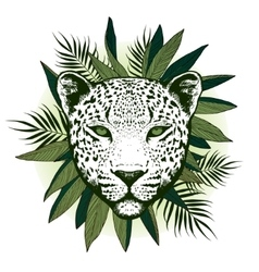 Graphical leopard with palm leaves vector image vector image
