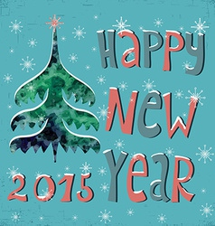 Happy New Year Greeting Card with watercolor vector image vector image