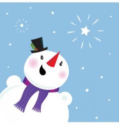 happy snowman looking at snow vector image vector image