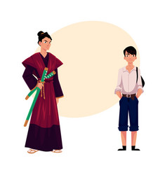 japanese people - samurai in historical costume vector image