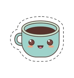 kawaii blue cup coffee fresh dot line vector image