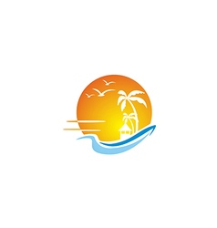 beach ocean sunset travel tropic hawai logo vector image vector image