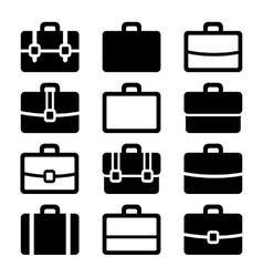 Briefcase Icons Set on White Background vector image vector image