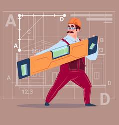 Cartoon builder holding carpenter level wearing vector