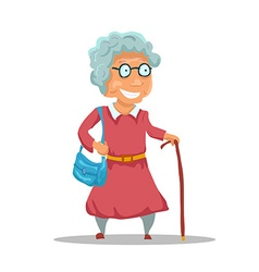 Cartoon old lady character isolated on white vector
