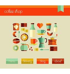 Coffee Shop web design template set vector image