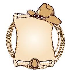 Cowboy hat and lasso American vector image
