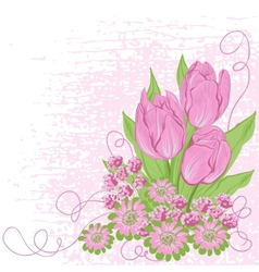 Design card of tulips Flower background vector image vector image