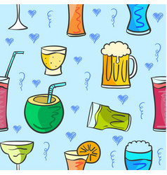 drink various style pattern collection vector image