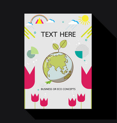 eco card with earth and geometric shape vector image