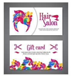 set of two templates of gift cards with color vector image vector image