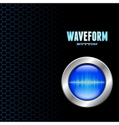 Silver button with sound wave sign vector image vector image