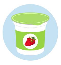 yogurt healthy cream milk product in plastic vector image